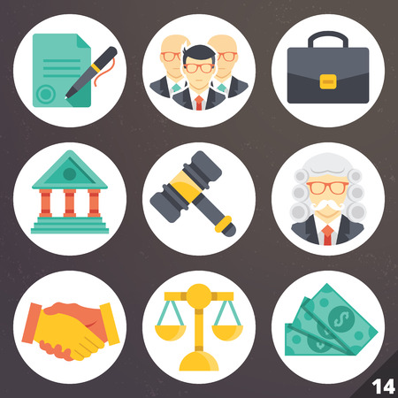 criminal justice: Colorful vector icons for web and mobile applications. Set 14 Illustration