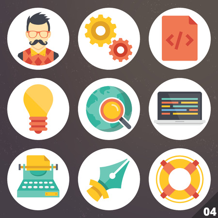 Colorful vector icons for web and mobile applications. Set 4 Vector