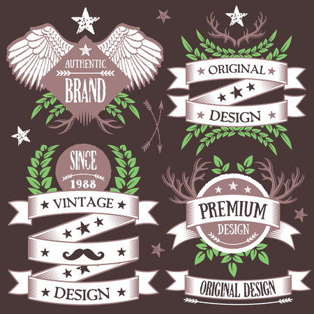 straight edge: Creative vintage nature and forest concept badges, labels and ribbons set 9
