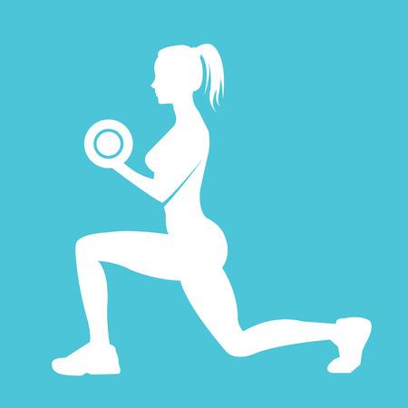 haciendo ejercicio: Gimnasio icono silueta de la mujer. Mujer sosteniendo las pesas y hacer ejercicio Vectores