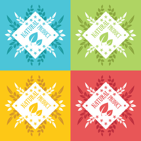 Natural product labels and badges Vector