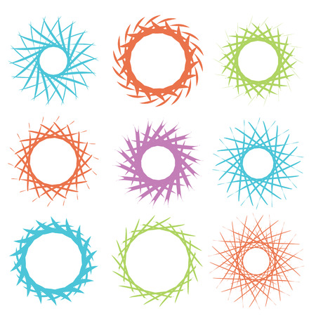 Colorful abstract round frames and shapes set Vector