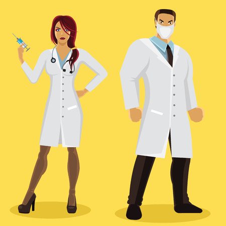 Male and female doctor characters Vector
