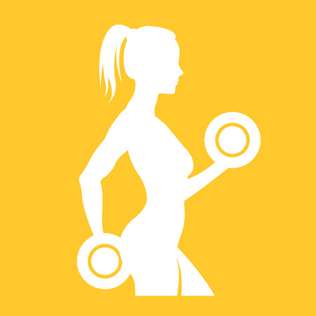 Fitness woman silhouette. Woman holding dumbbells Vector