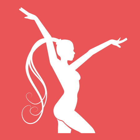 competitions: Fitness club emblem. Women doing rhythmic gymnastics exercise