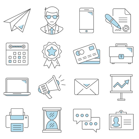 Business flat line icons set. Vector