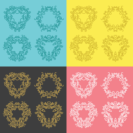 Creative vintage concept frames badges and monograms set Vector