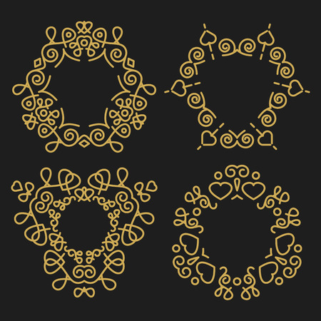 Outline emblems and badges set Vector
