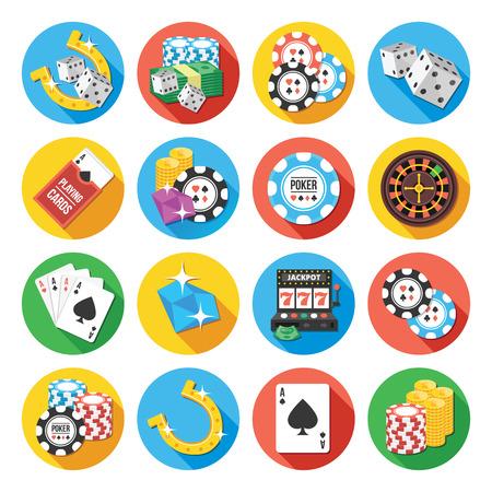 maquinas tragamonedas: Iconos planos vectoriales redondos conjunto. Iconos Poker concepto