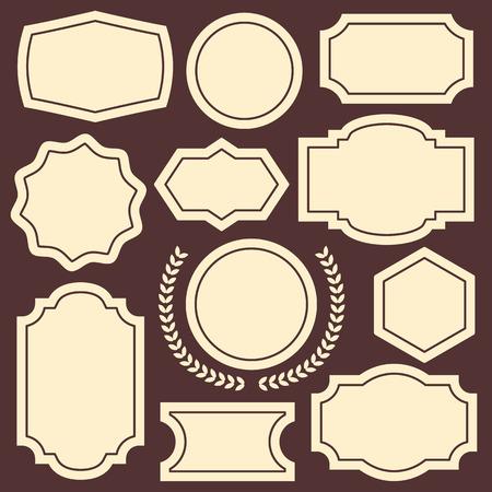 Set of vintage frames badges emblems labels and insignias Illustration