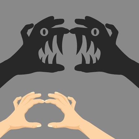 two story: Shadow puppet concept Illustration