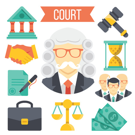 court judge: Law and justice icons set
