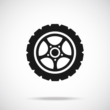 tyre tread: Tire icon Black icon.