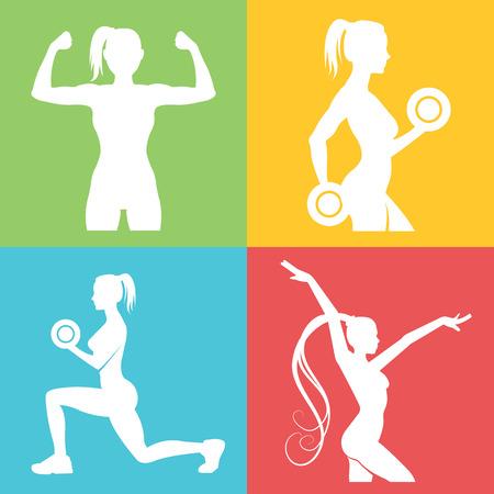 icono deportes: Conjunto de logotipo de fitness con siluetas de mujer
