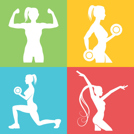sport woman: Set of fitness logo with woman silhouettes
