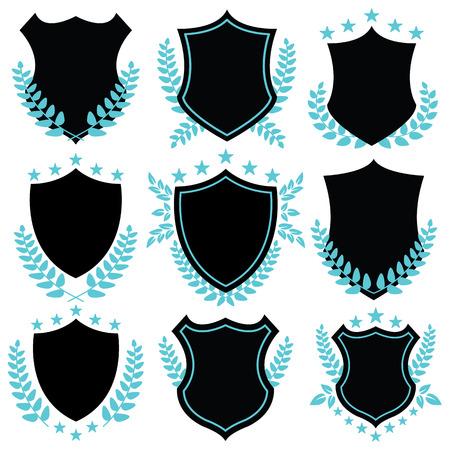 insignias: Vintage insignias de vectores y formas de escudo Vectores