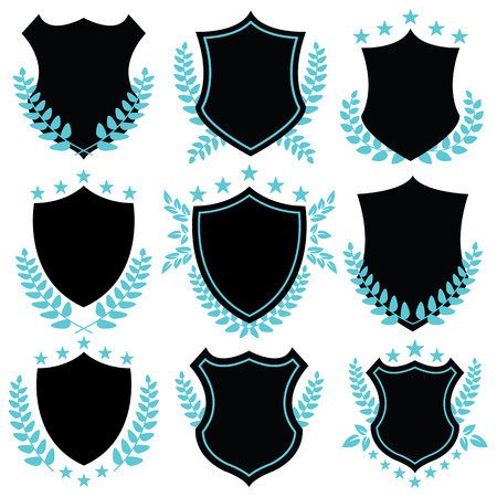 identity protection: Vintage vector badges and shield shapes