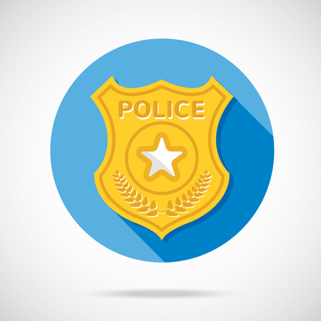 enforcement: Police officer badge icon. Law and order concept. Flat design vector illustration