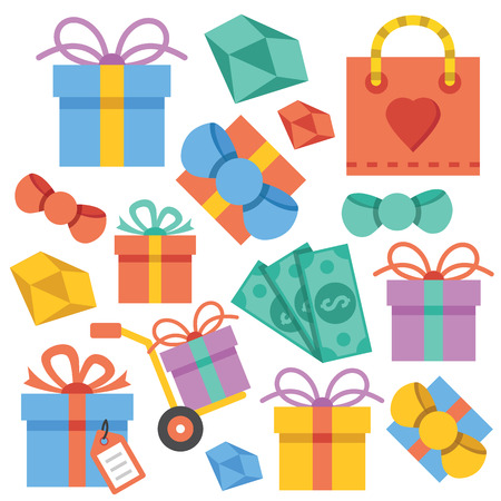 giftware: Vector gift icons set Illustration