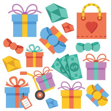 blue box: Vector gift icons set Illustration