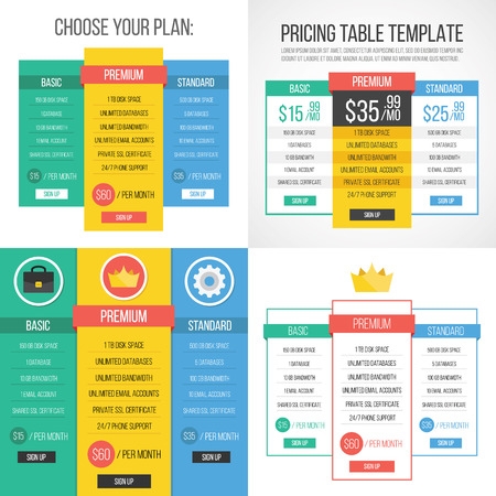 4 different pricing tables. Creative graphic design. Vector illustration. Vector