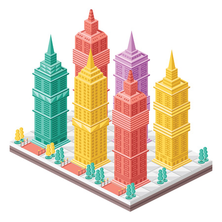 Vector isometric city map with colorful skyscrapers. Vector