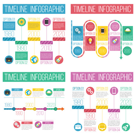 4 different timeline infographics sets Vector