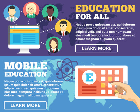 Mobile education education for all internet education flat illustration concepts set Vector