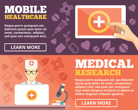 Mobile healthcare and medical research flat illustration concepts set Vector