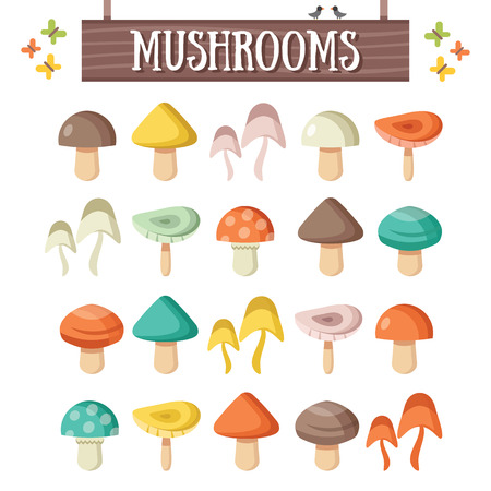 Trendy flat mushrooms set. Beautiful colorful mushrooms Vettoriali