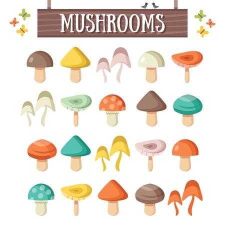 mushroom: Setas planas de moda establecidos. Setas coloridas hermosas Vectores