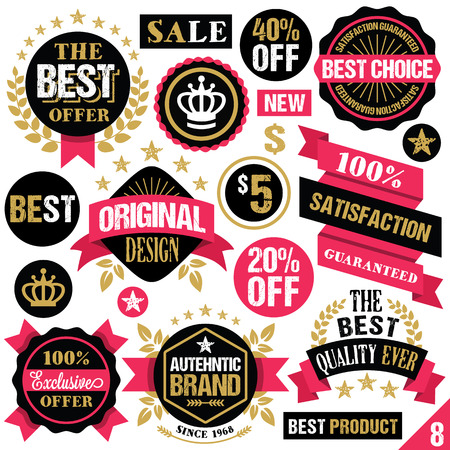 red retail: Premium quality stickers badges labels and ribbons. Set 8