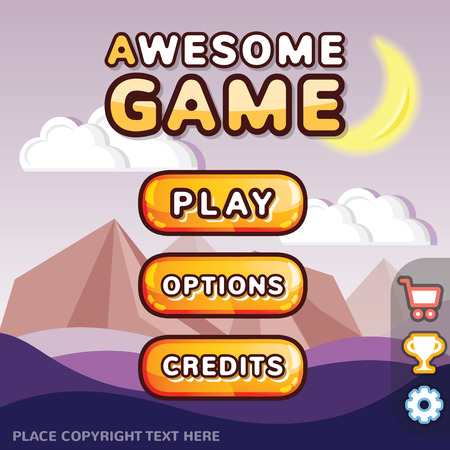 Main menu game interface kit. Creative ui templates for web mobile and computer video games. Mystery canyon level concept