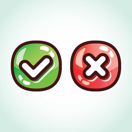 glossy buttons: Set di spunta verde e rosso segna tasti lucidi