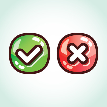 Set of green and red check marks glossy buttons Vector
