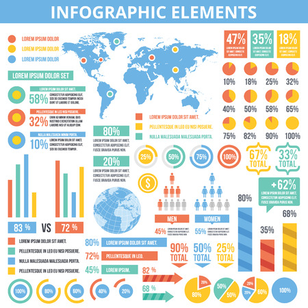 Universal infographic elements set. Flat design infographic template