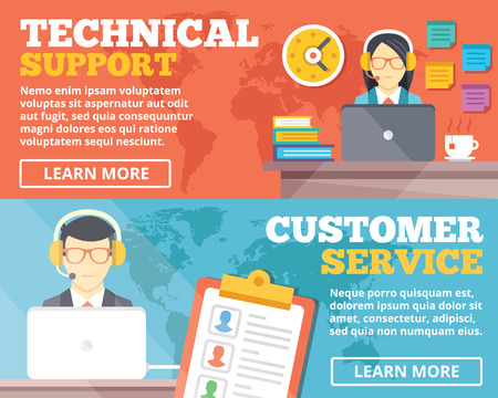 support center: Technical support customer service flat illustration concepts set Illustration