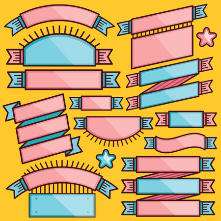 Trendy set of cartoon ribbons badges and labels. Flat line style design Vector