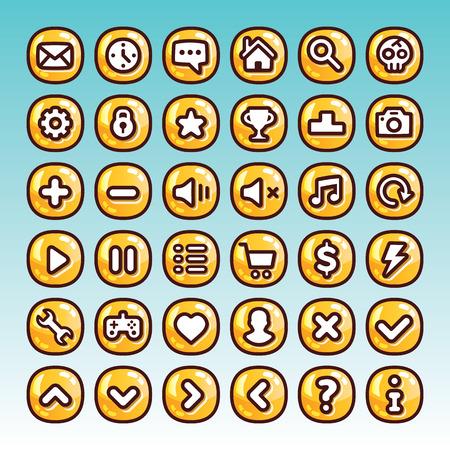 Grote collectie van de cartoon spel pictogrammen knoppen voor het web en mobiele apps Vector Illustratie
