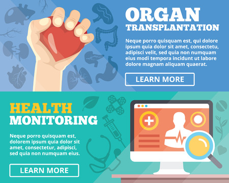 Organ transplantation and health monitoring flat illustration concepts set Vector