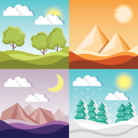 desert landscape: Set of 4 cartoon nature backgrounds and landscapes with different seasons
