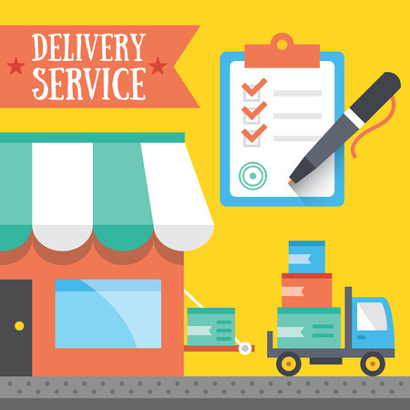 wheel house: Delivery service concept. Trendy flat design vector illustration