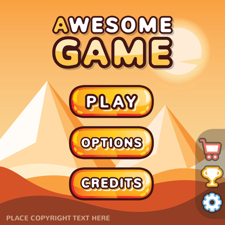 Main menu game interface kit. Creative ui templates for web mobile and computer video games. Desert level concept