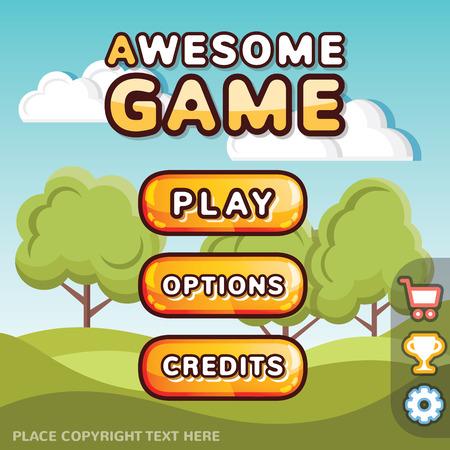 Hlavní menu hra sada rozhraní. Kreativní ui šablony pro web a mobilní počítač videohry. Sunny kopce koncept úroveň