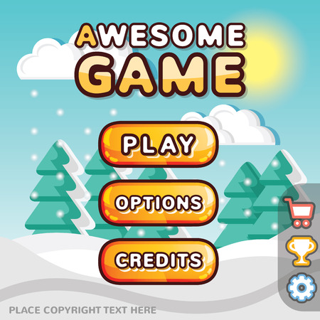 Main menu game interface kit. Creative ui templates for web mobile and computer video games. Winter level concept Illustration