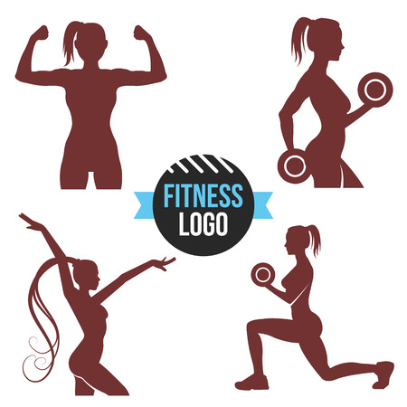 strong: Fitness logo set. Elegant women silhouettes. Fitness club fitness exercises concept