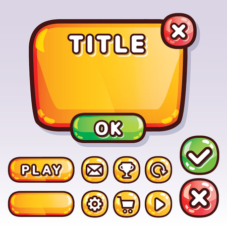 Yellow glossy game interface elements. Creative templates for game design web and mobile apps. Buttons icons text box etc.