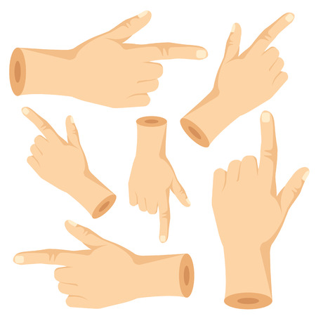 Set of human pointing hands Vector