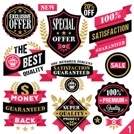 Premium quality stickers badges labels and ribbons. Set 1 Vector