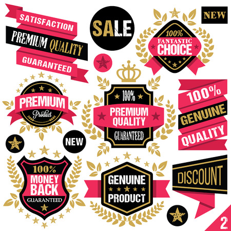 Premium quality stickers badges labels and ribbons. Set 2 Vector